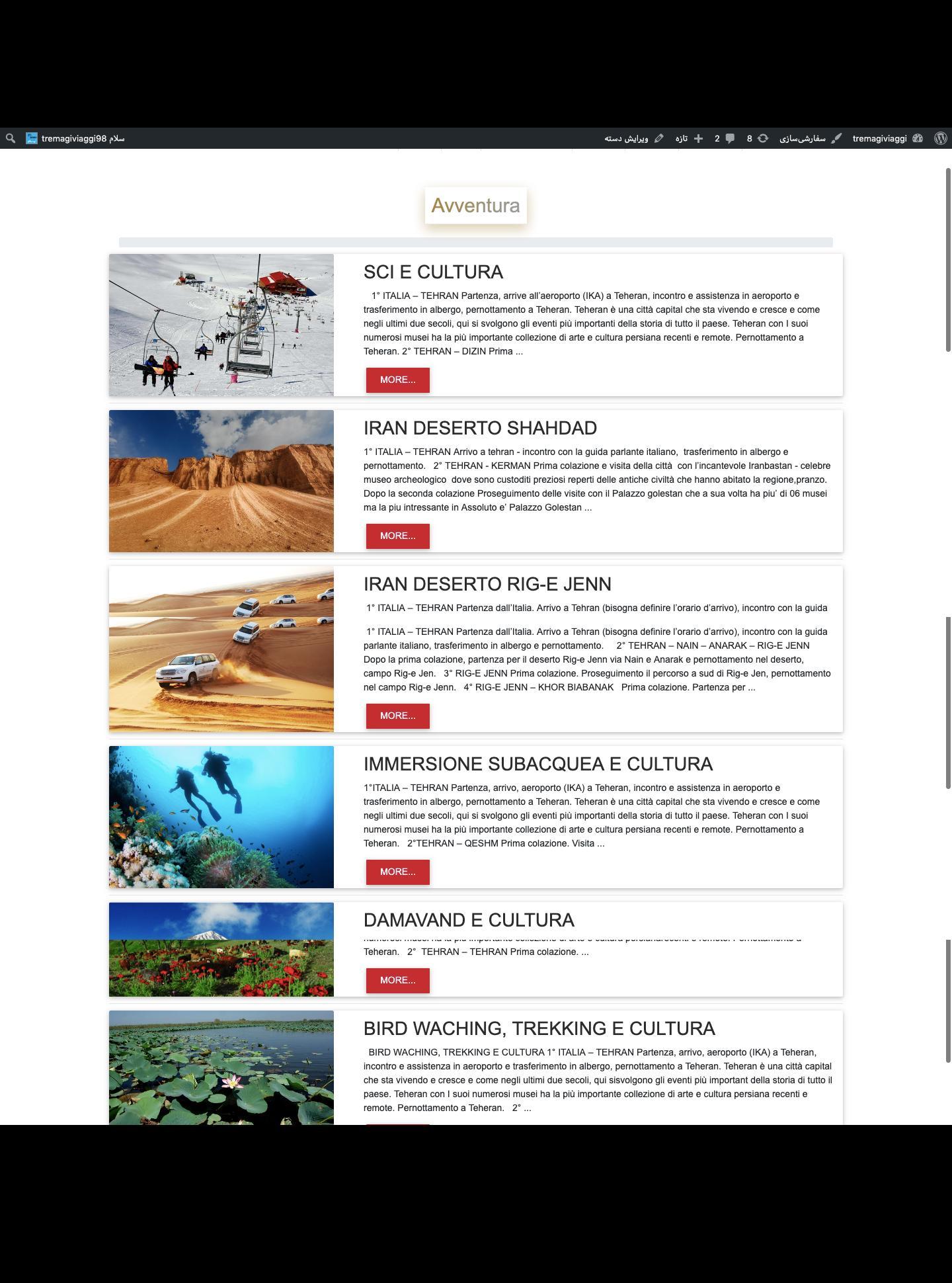 طراحی سایت گردشگری ایتالیایی